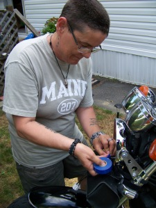MainelyButch working on the headlight