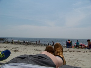 Hanging at the beach last summer...boots and all.