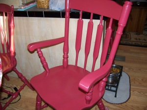 My weekend project, painting 4 kitchen chairs.  This one happens to be the captains chair.