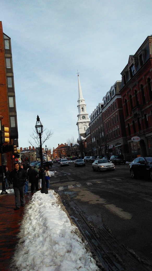 looking downtown, steeple is the North Church